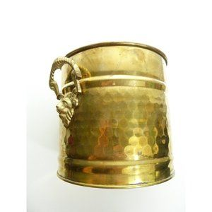 Vintage Brass Pot Planter With Lion or Goat Head